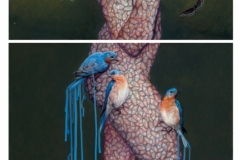 "'Early Bird' 70""x30"" colored pencil and acrylic 2 panels"