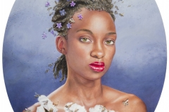 "'The Violet Queen' ""52x48"" colored pencil and acrylic on panel with paper pieces"